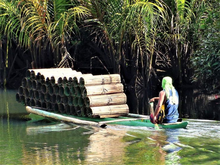 A dugout canoe loaded with fish traps.