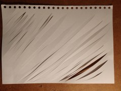 Dynamic slashes, across the paper ( I felt the direction itself is important too, to create movement).