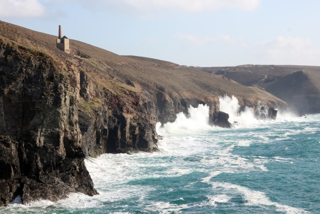 Fishing in View of Wheal Coates Mine Near St Agnes