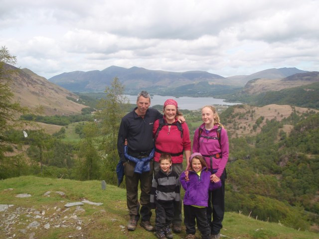 The family at the top of Castle Crag, Borrowdale.