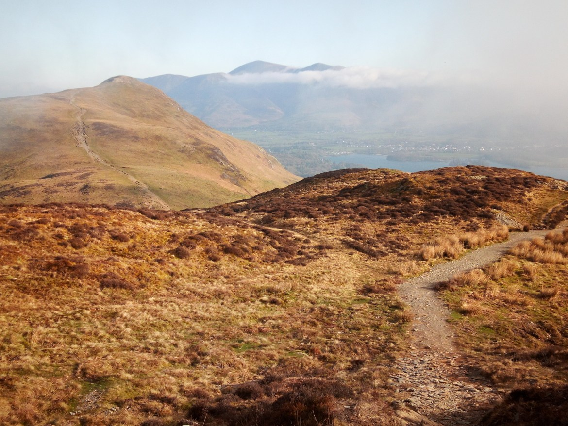 A view of Keswick, with Skiddaw in the clouds from Cat Bells