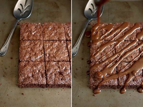These Salted Caramel Brownies are sticky and messy to eat but they are sweet and salty, chocolaty and caramelly, and most definitely finger licking good! | wildwildwhisk.com