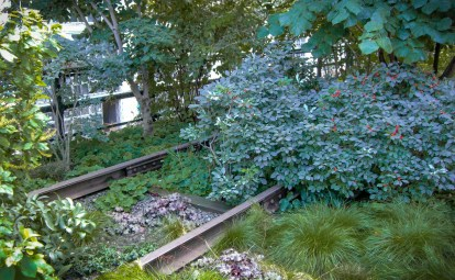 The rail line along the High Line, just peeking through the greenery.