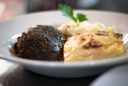 Haggis, Neeps & Tatties, with swede & turnip gratin, Mash & whisky gravy