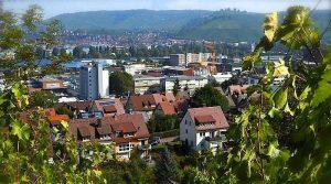Blick von der Jägerhalde in Stuttgart Wangen zum Württemberg