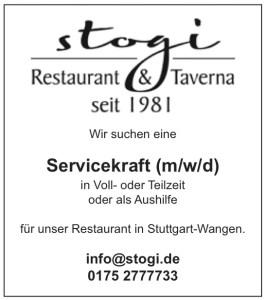 Stogi sucht Servicekraft m/w/d