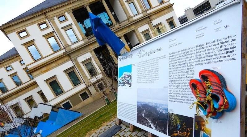 Frauenkopf-Tafel in Ausstellung Kesselhöhen hinter dem Wilhelmspalais