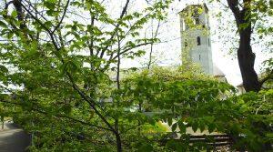 Blick von der Inselstraß0e auf die Kirche St. Christophorus in Wangen