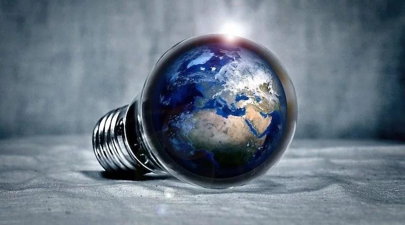 Glühbirne mit integrierter Weltkugel