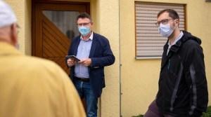 CDU-MdB Stefan Kaufmann am 27.8.2021 beim Haustürwahlkampf