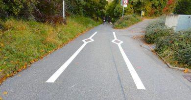 weiße Fahrbahnmarkierungen vor dem Hohlweg Tuttlinger Straße 18.10.2021