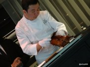 HKK - Chef Tong Chee Hwee personally serves the 'Lychee Wood Roasted' Peking Duck
