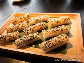 Hutong - Crispy shrimp roll with thousand year egg