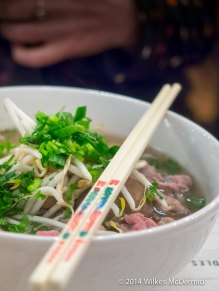 Pho Bo (Thin Rare Steak & Beef Balls in an Ox-Tail Soup)