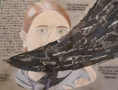 Jolie R., The Crow--mixed media
