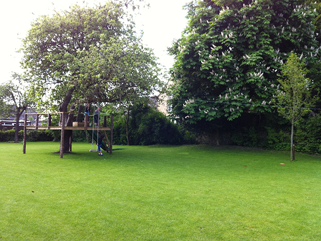 Willbee Landscaping lawn, tree house and zip wire
