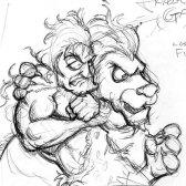 Jungle Man and a Lion