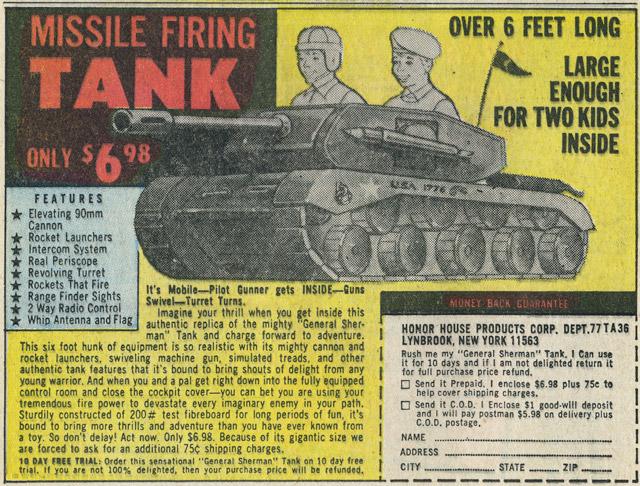 Missile Firing Tank vintage comic ad