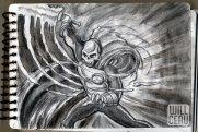 Atomic Warrior swinging an Atomic Saber