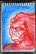 Playing with blue and red Inktense pencils