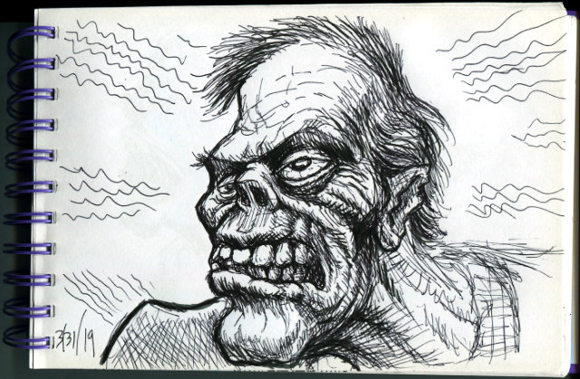 Ink drawing of Frankenstein