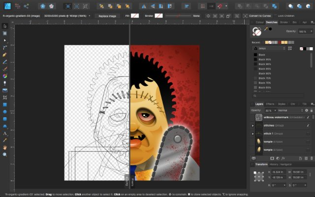 Leatherface in Affinity Designer