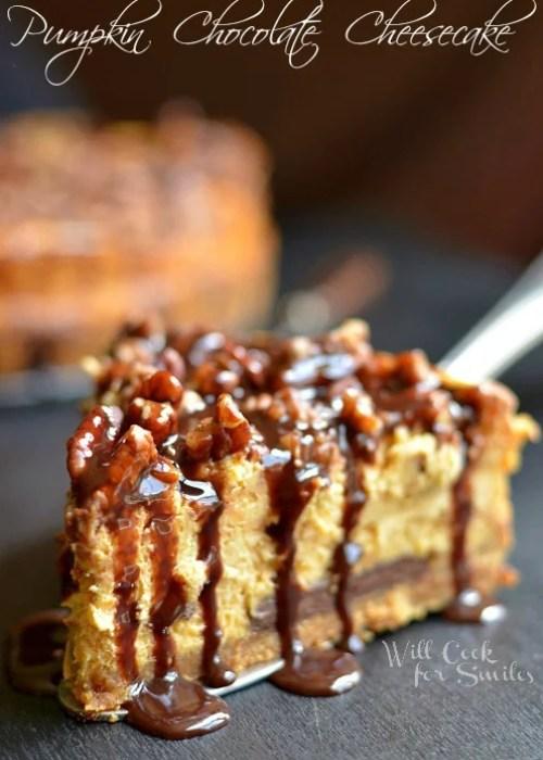Pumpkin Chocolate Cheesecake 5  (c) willcookforsmiles.com #pumpkin #cheesecake #chocolate