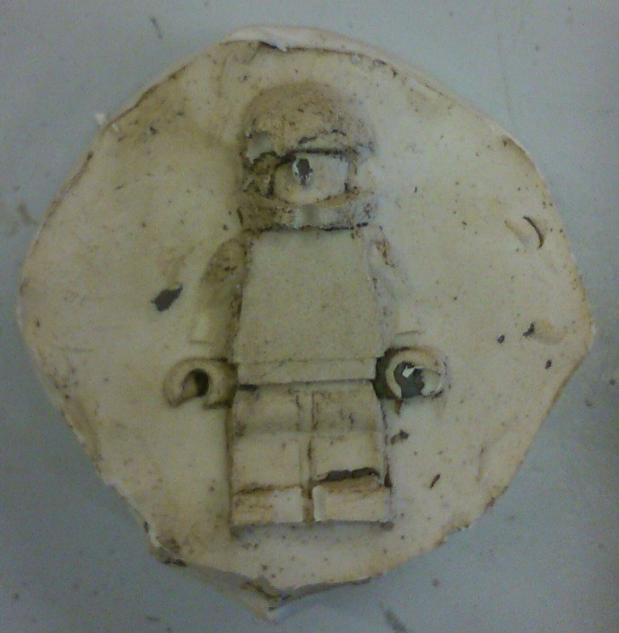 Lego man cast in plaster (unpainted)