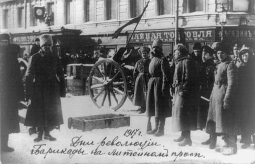 Revolutionary Russian Soldiers Man Barricade