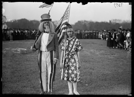 Uncle Sam and Columbia at Patriotic Rally