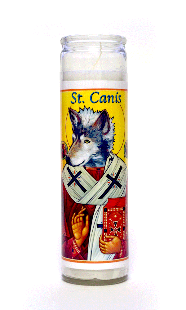 Canis Wolf Icon painting animal spirit art prayer candle