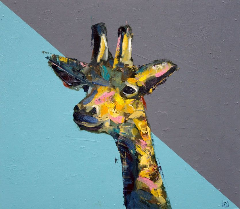 Giraffe-Painting-Just Out of Reach animal artist art painting Will Eskridge