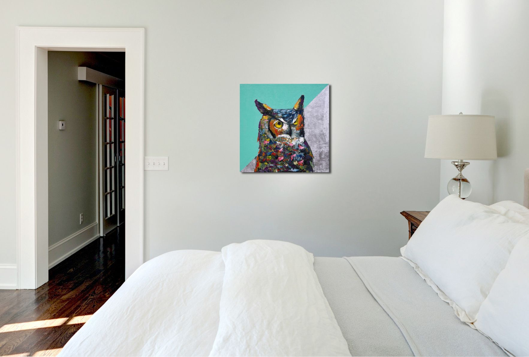 They Came for Silver animal artist art wildlife painting horned owl Will Eskridge in situ