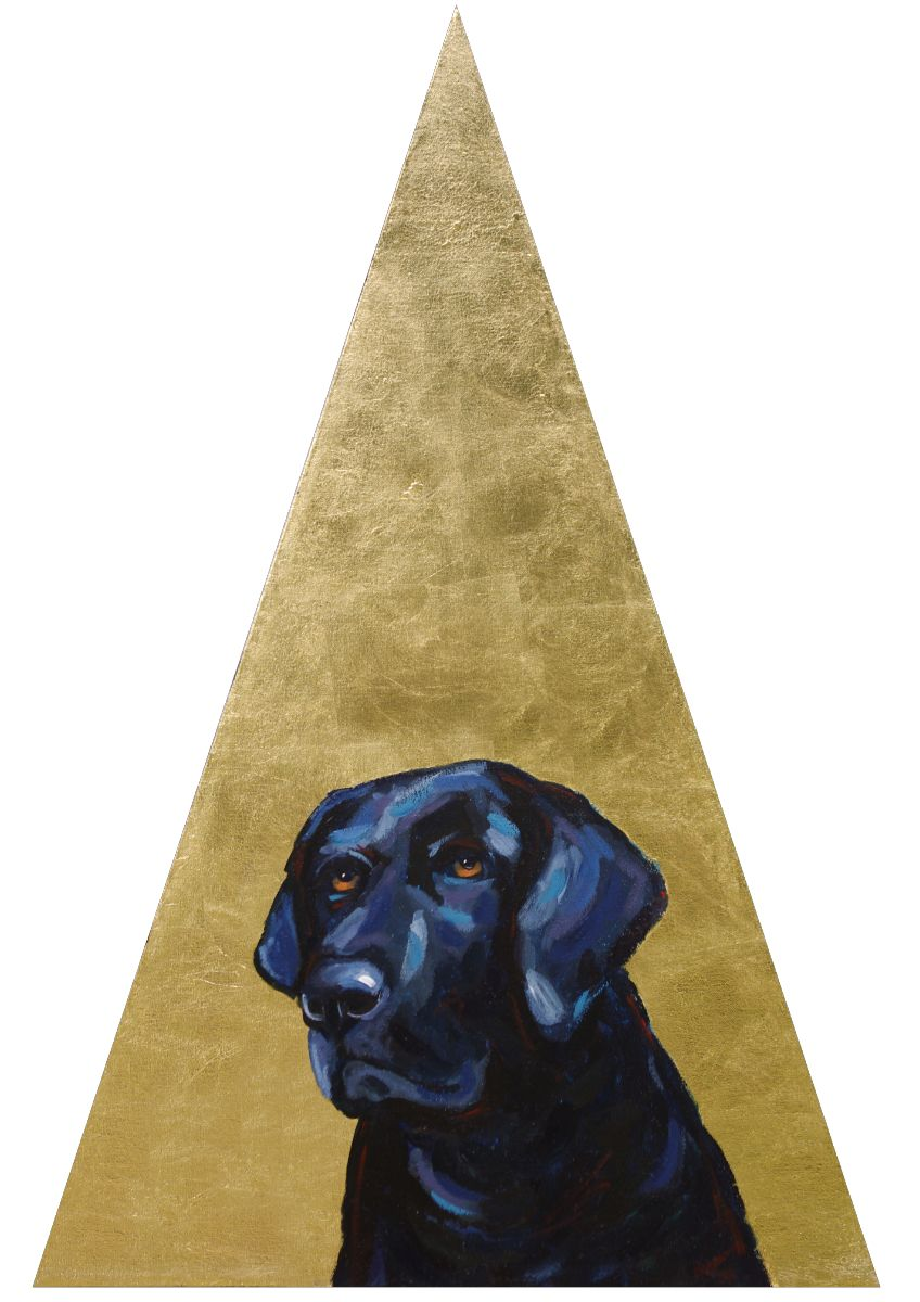Lola Triangle Golden Contemporary Pet Portrait Animal Artist Custom Painting Will Eskridge