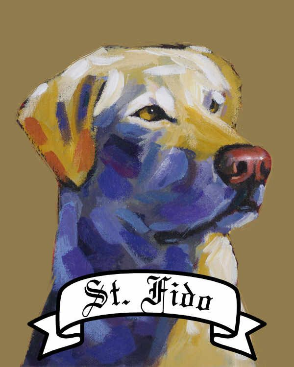 Personalized Saint Dog archival print pet portrait dog breed yellow lab labrador Will Eskridge
