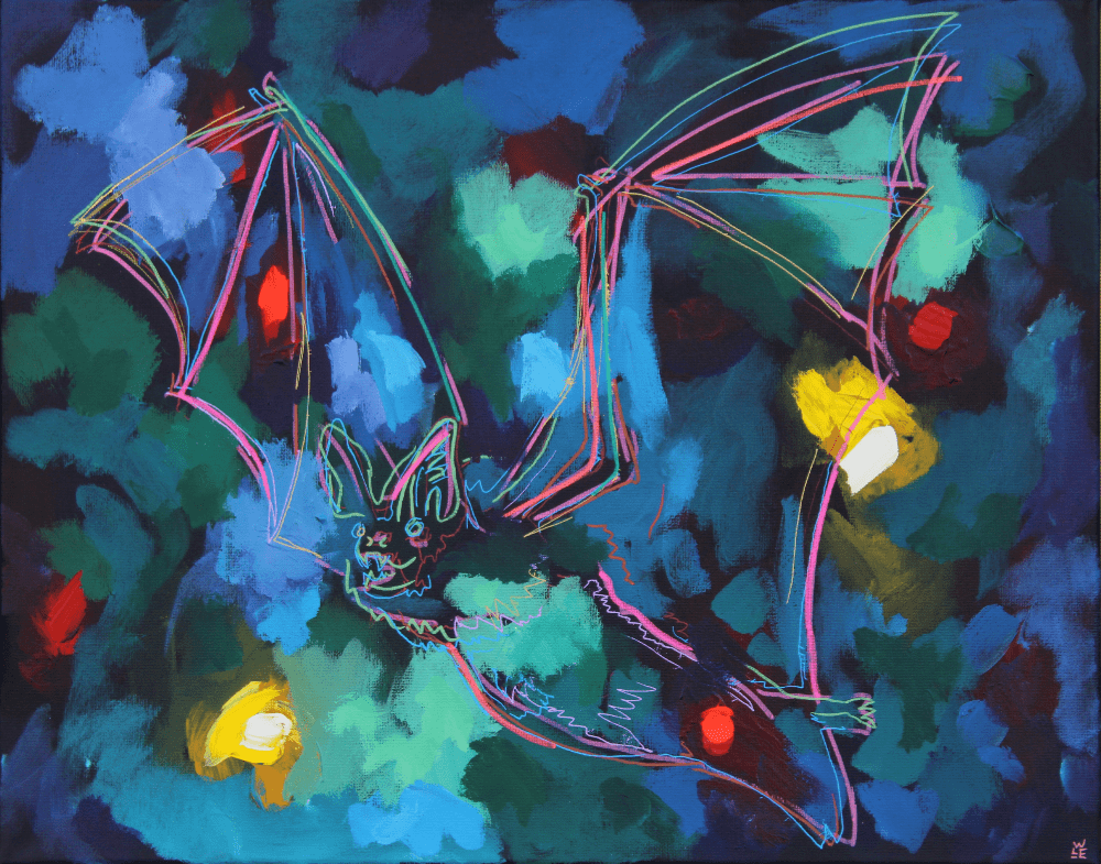 One Winter Night Bat Abstract Painting
