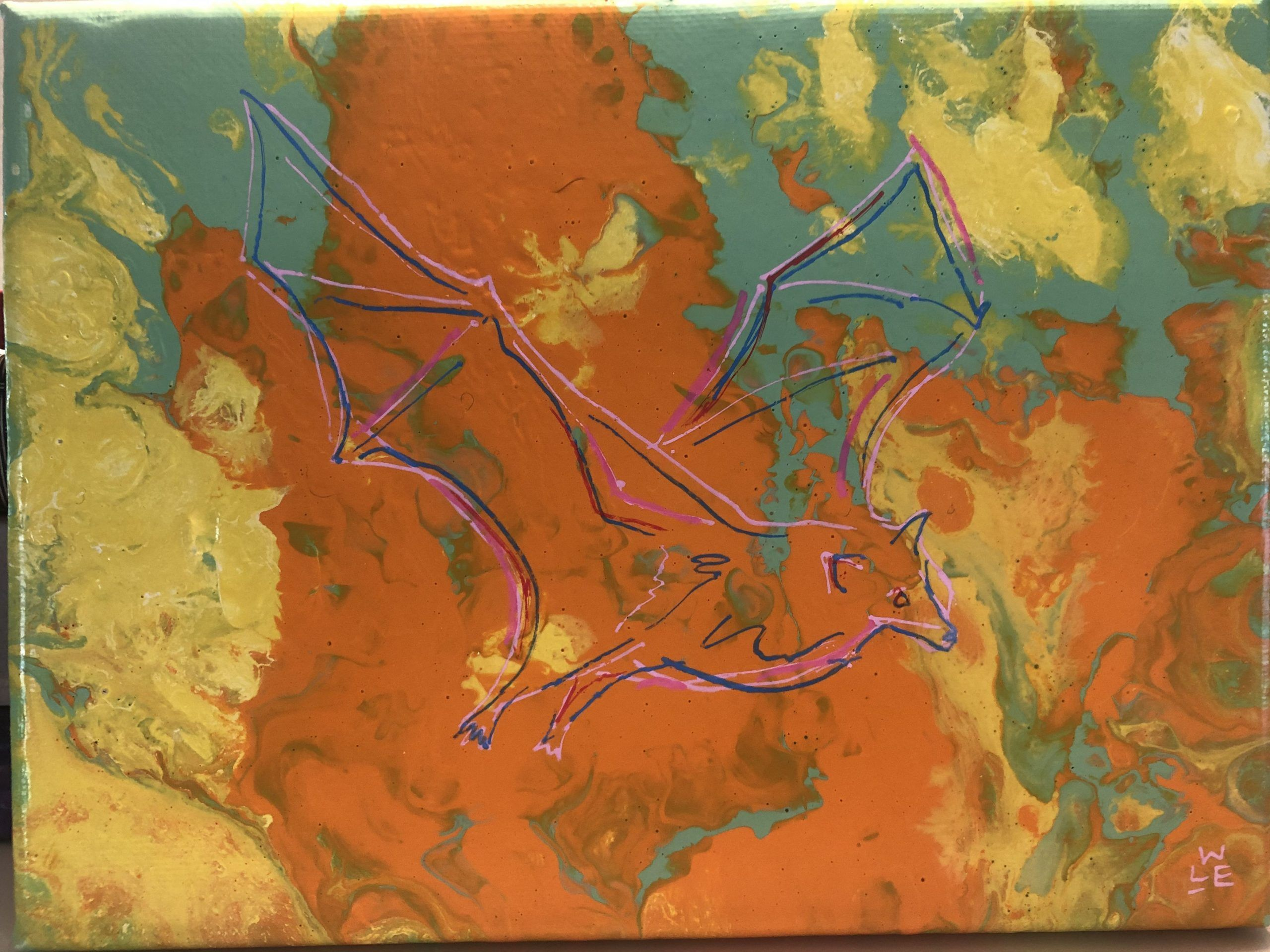 Fly By Night Bat Acrylic Painting
