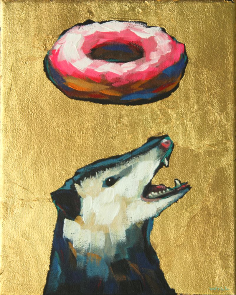 Donuts Will Save The World (Opossum) Painting