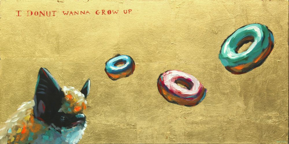I donut wanna grow up ramones bat painting wildlife artist art contemporary humor punk rock n roll gold leaf athens georgia Will Eskridge