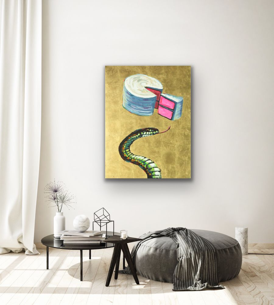 Snake Cake Painting Wildlife Artist Art Contemporary Halo Saint Humor Punk Rock N Roll Gold Leaf Athens Georgia Will Eskridge Insitu