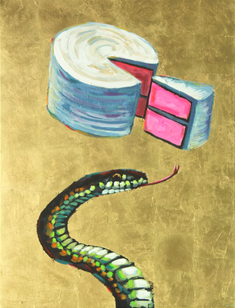 Snake Cake Painting Wildlife Artist Art Contemporary Halo Saint Humor Punk Rock N Roll Gold Leaf Athens Georgia Will Eskridge