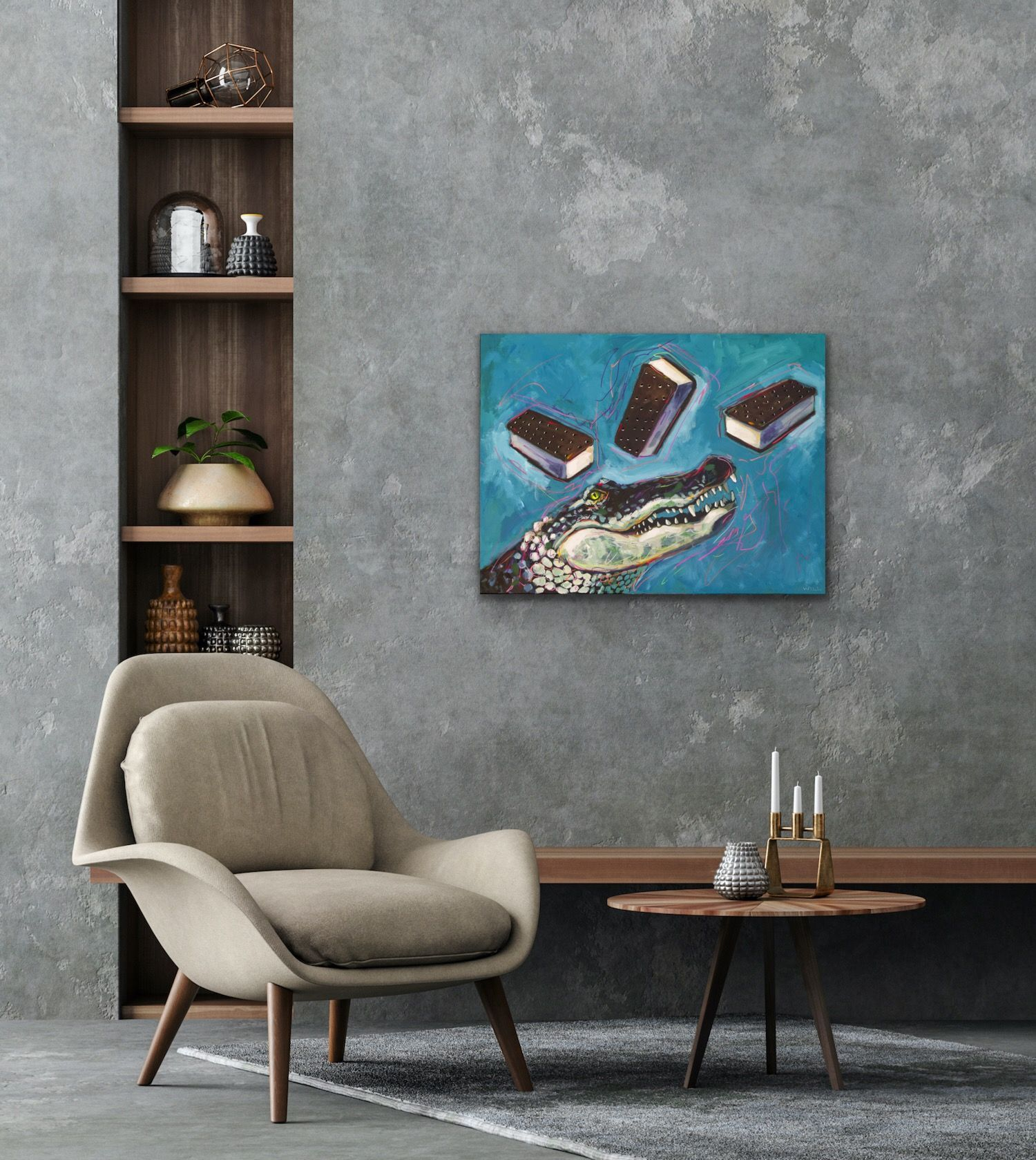 Primal Ice Cream Alligator Sandwiches Blue Funny Cute Glam Rock N Roll Metal 80s Party Painting Will Eskridge-web