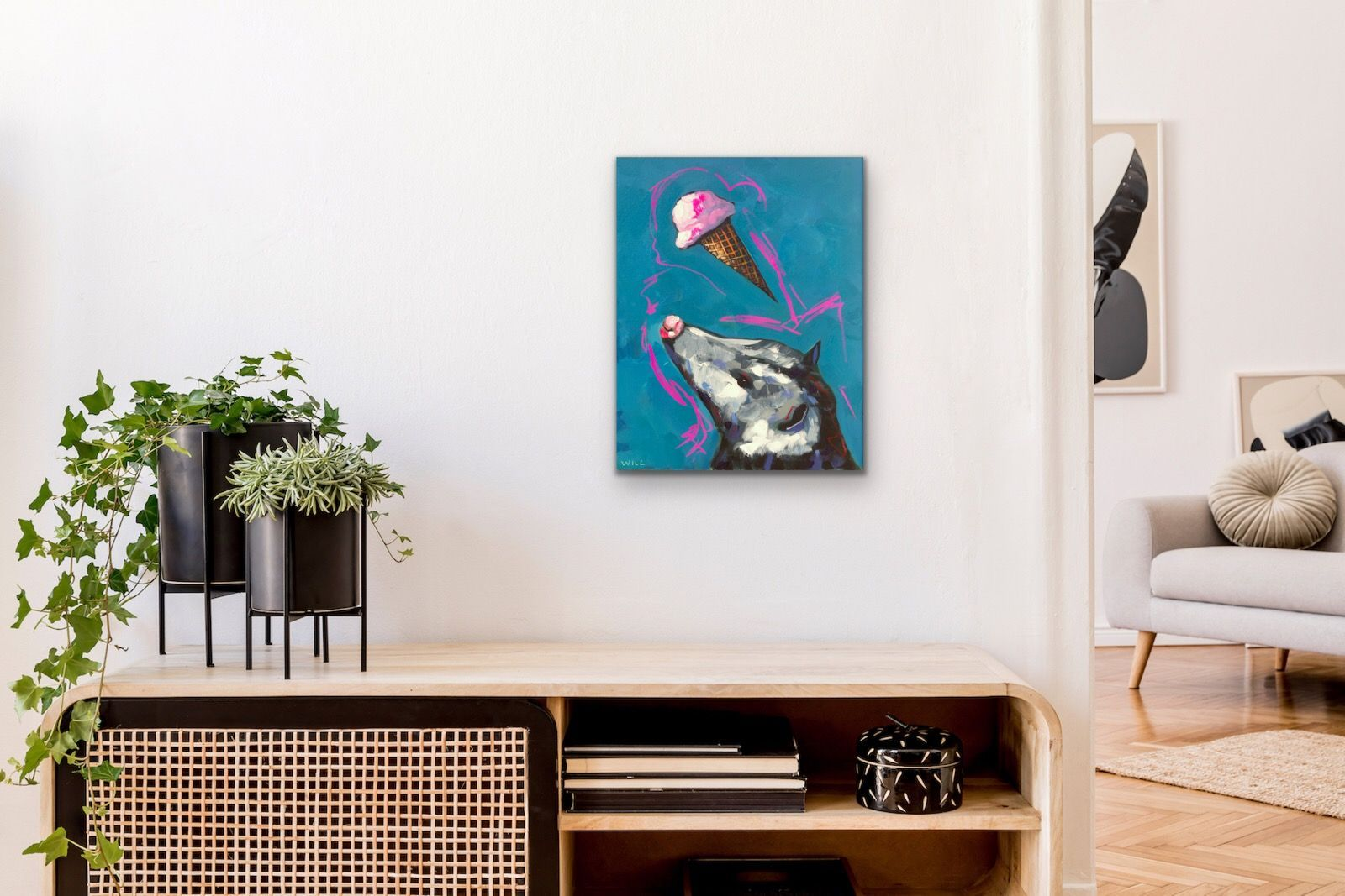 Ice Cream Cometh Opossum Pink Blue Funny Cute Glam Rock N Roll Metal 80s Party Painting Will Eskridge