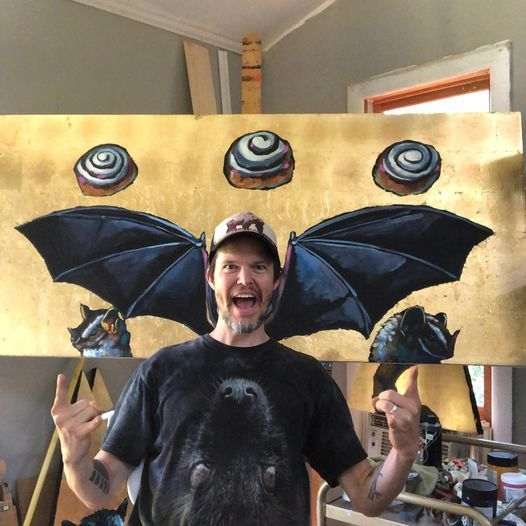 Bat Art Artist Painting Painter Cinnamon Rolls Rock N Roll Gold Leaf Animal Wildlife Will Eskridge Athens Georgia