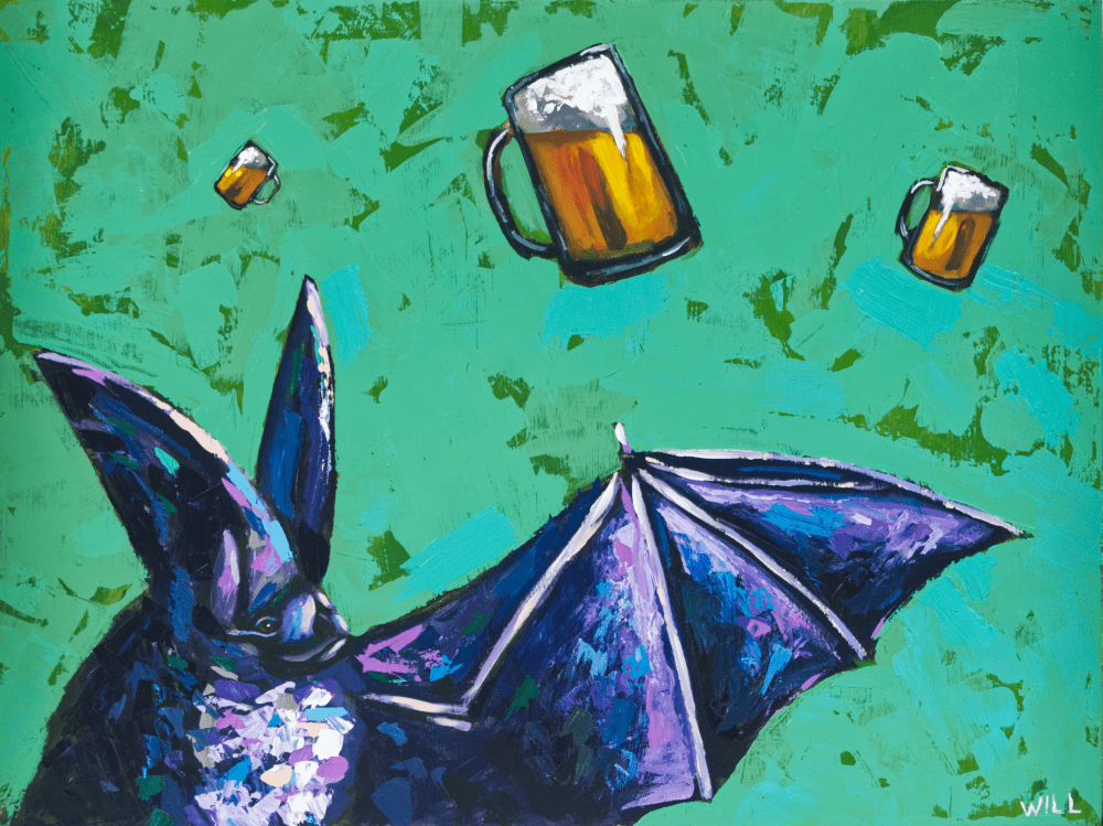 To Helles And Bat Animal Artist Happy Party Art Painting Wildlife Beer Fun Whimsical Artwork Athens Georgia Funny Will Eskridge