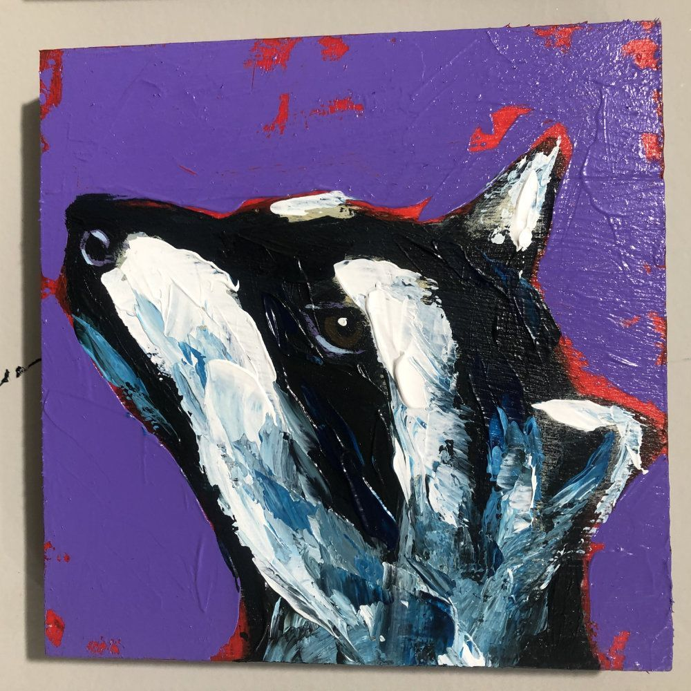 Hit Single Raccoon Purple Original Painting