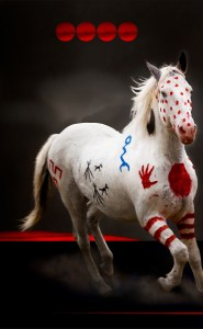 Blackfeet medicine hat horse painted as a War Pony