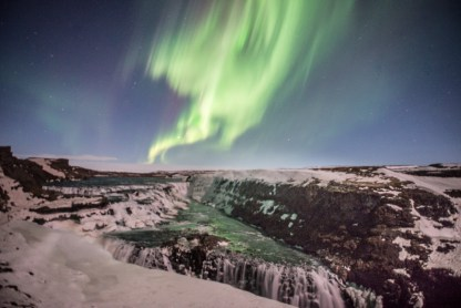 Aurora Borealis over Gullfoss
