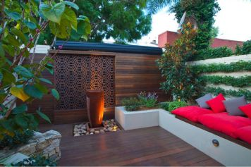Patio with wood deck and feature walls-PDF