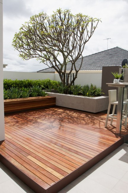backyard wood deck and bench with concrete planter-PDF